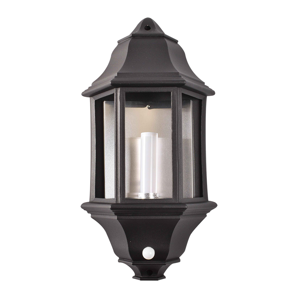 Black Aluminium Three Panel Half Lantern
