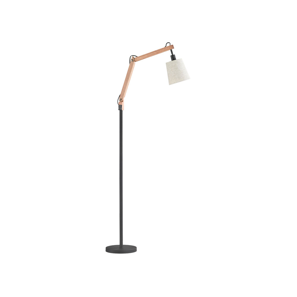 Janko Wood & Fabric Angled Floor Lamp