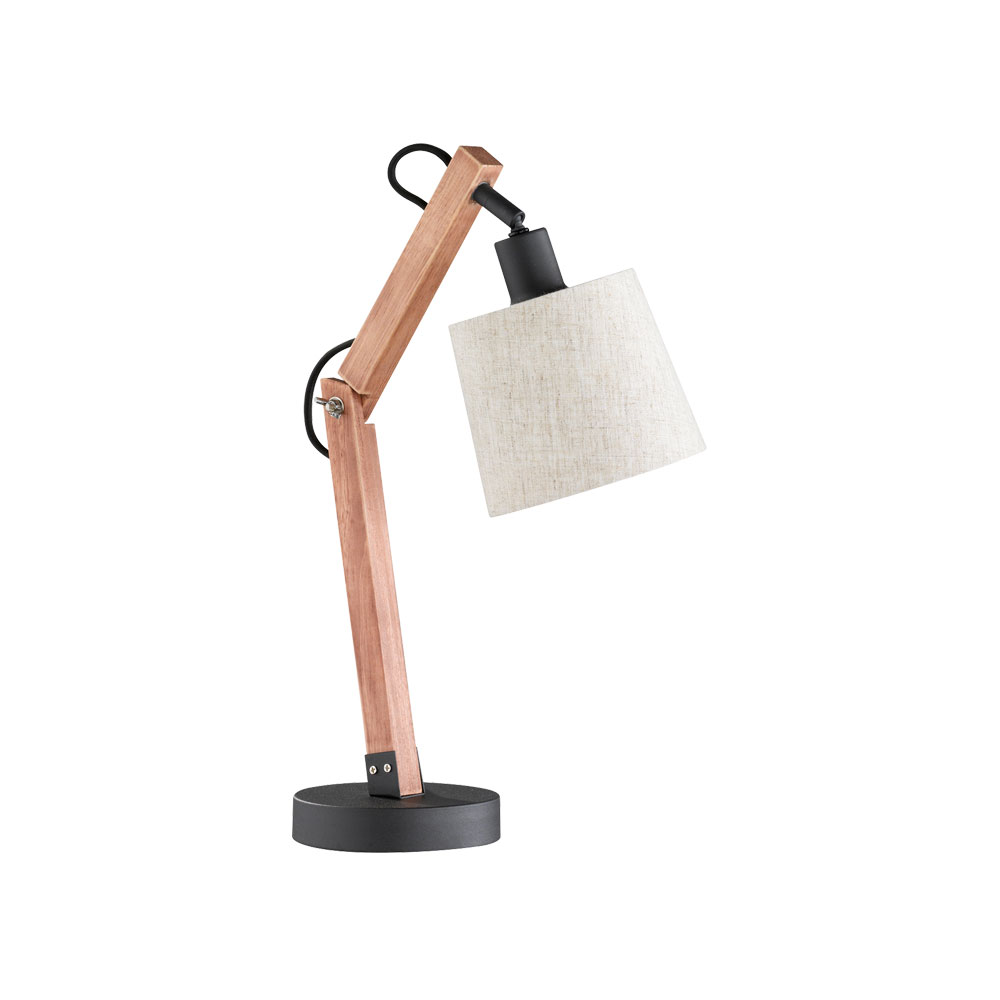 Janko Wood & Fabric Angled Table Lamp