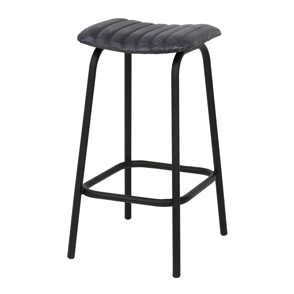 Carrow Leather Grey Stool