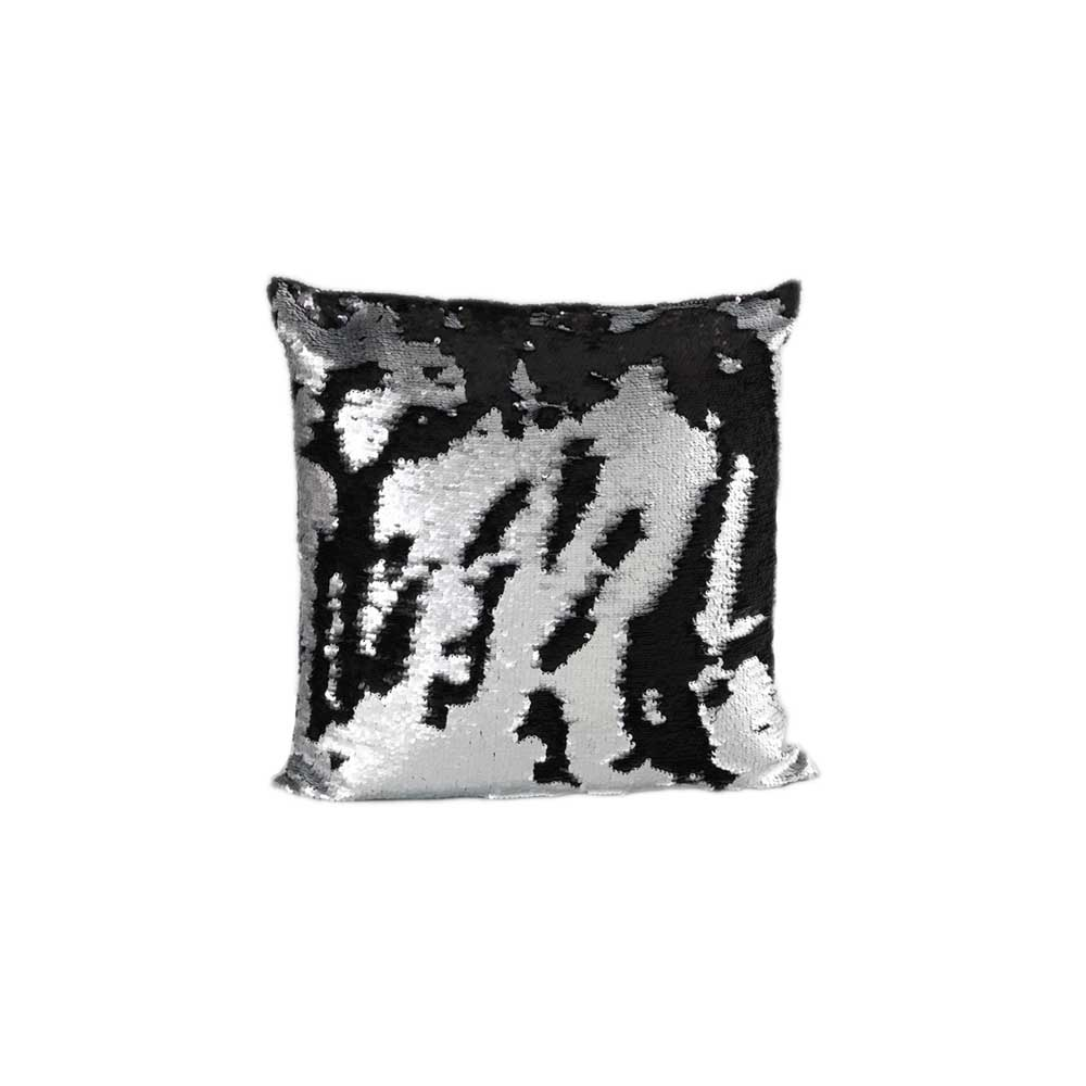 Black & Silver Sequin Square Cushion