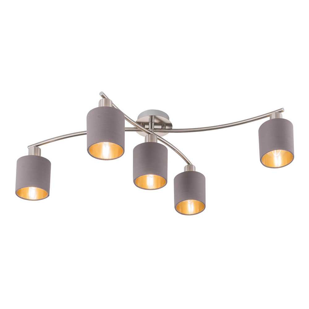 Garda 5-Lamp Ceiling Light – Grey / Gold