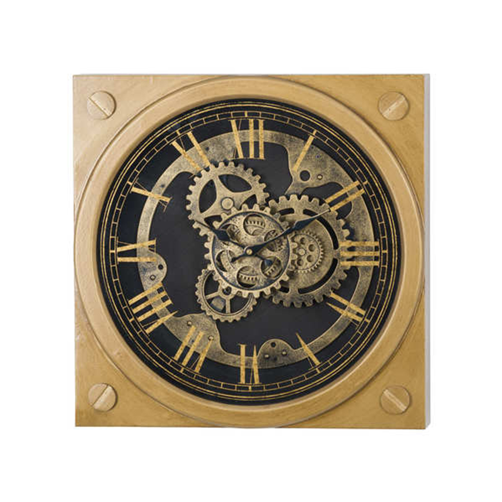 Square Gold Mechanism Clock