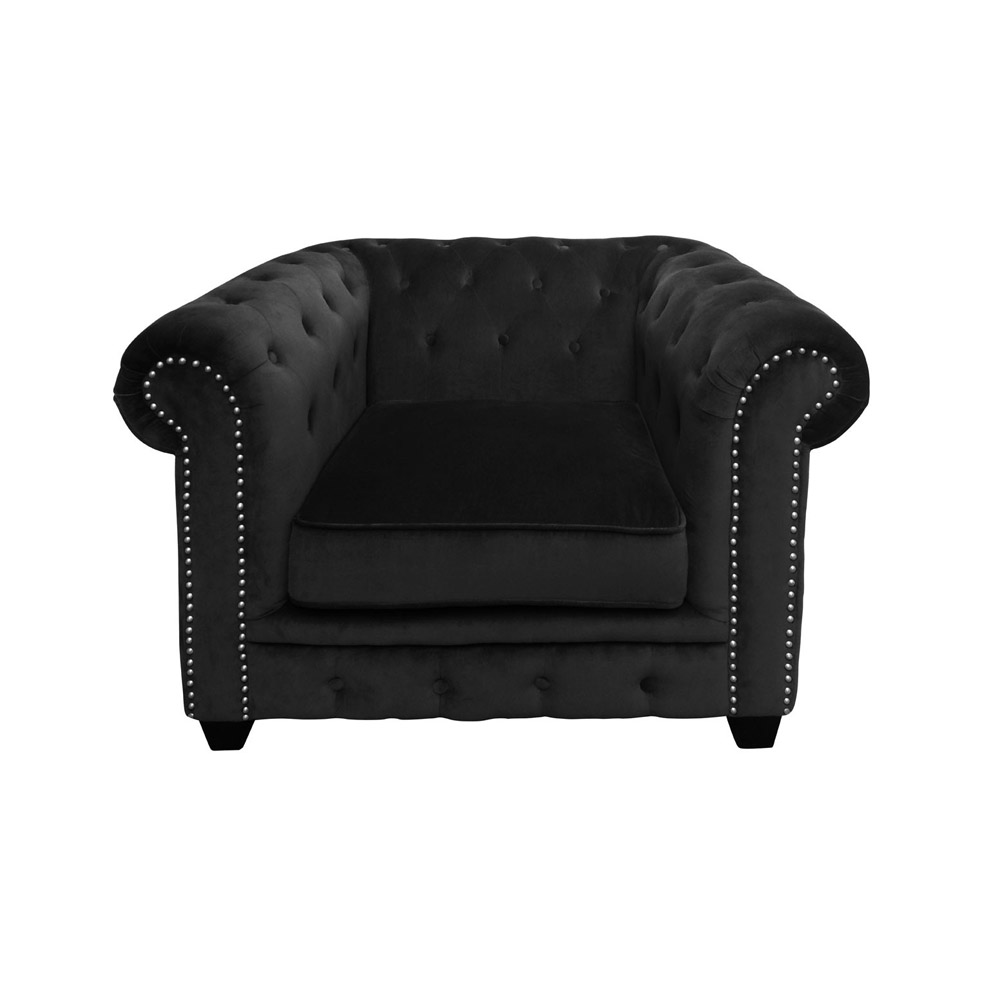 Regents Park Black Velvet Chair