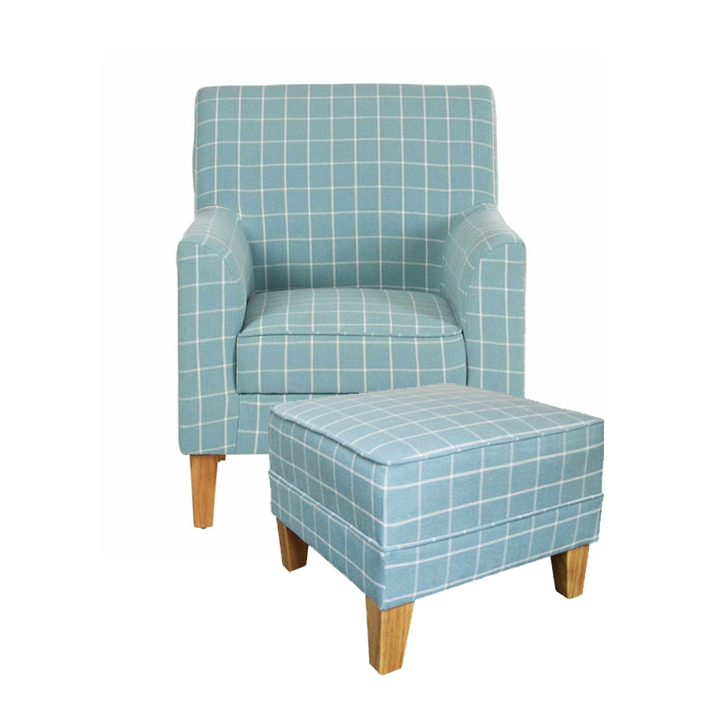Medan Chequered Teal Armchair & Footstool