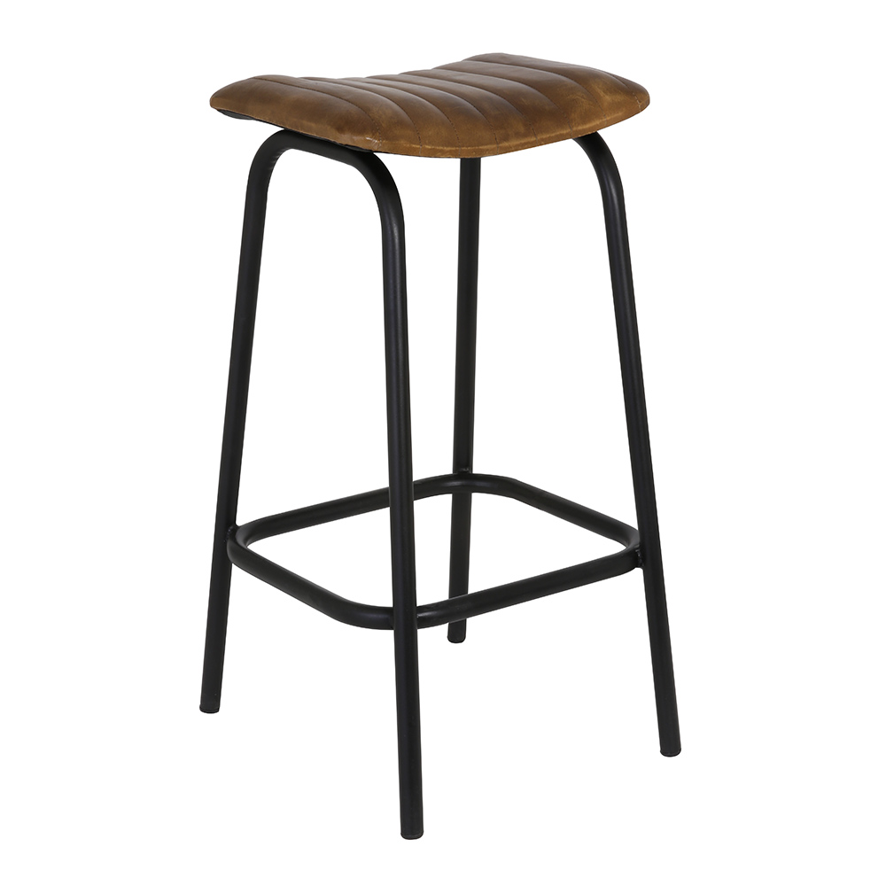 Carrow Faux Leather Brown Stool