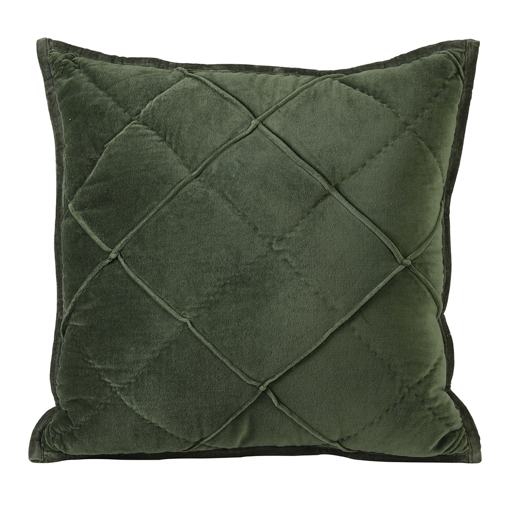 Diamond Velvet Olive Green Cushion