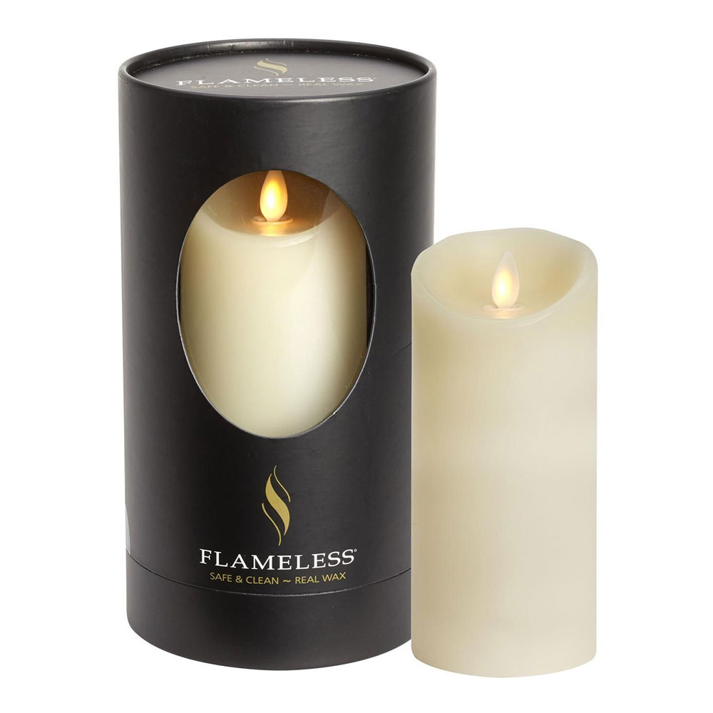 Flameless Ivory Pillar Candle 18cm