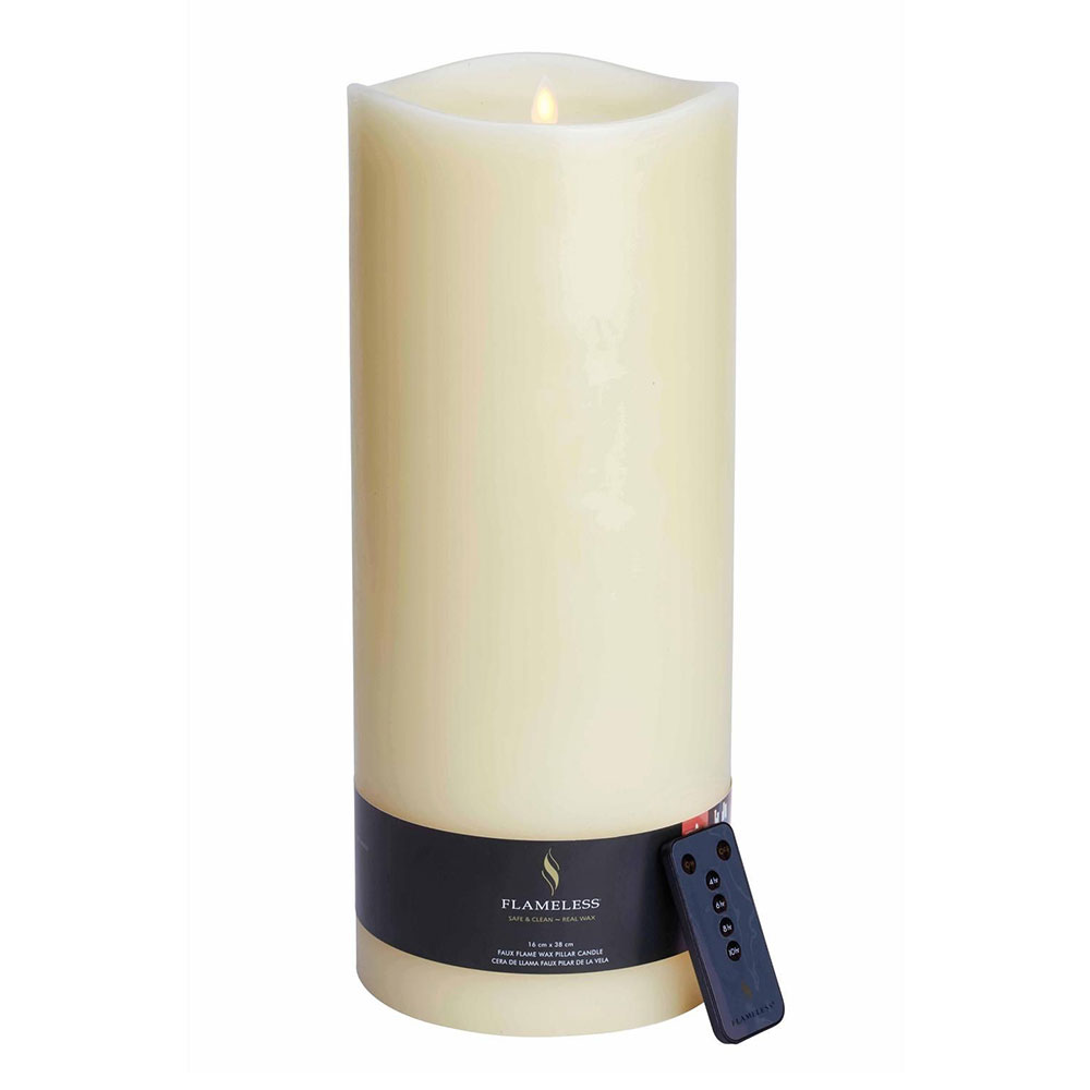 Flameless Giant Ivory Candle 38cm
