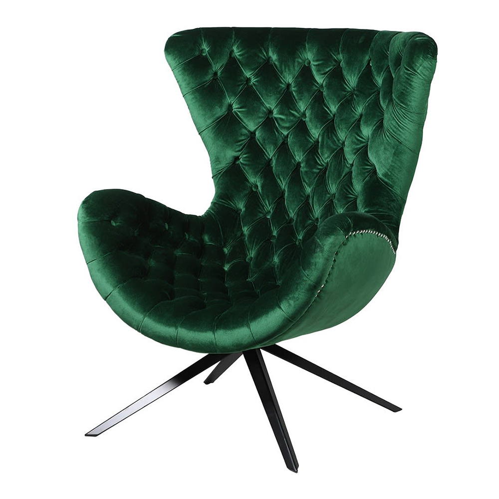 Emerald Green Buttoned Chair