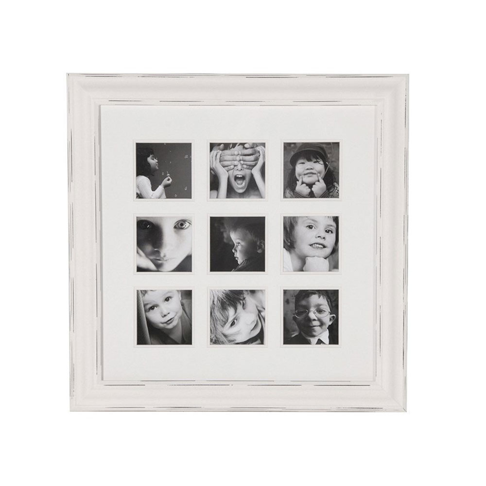 Distressed White 9 Picture Photo Frame
