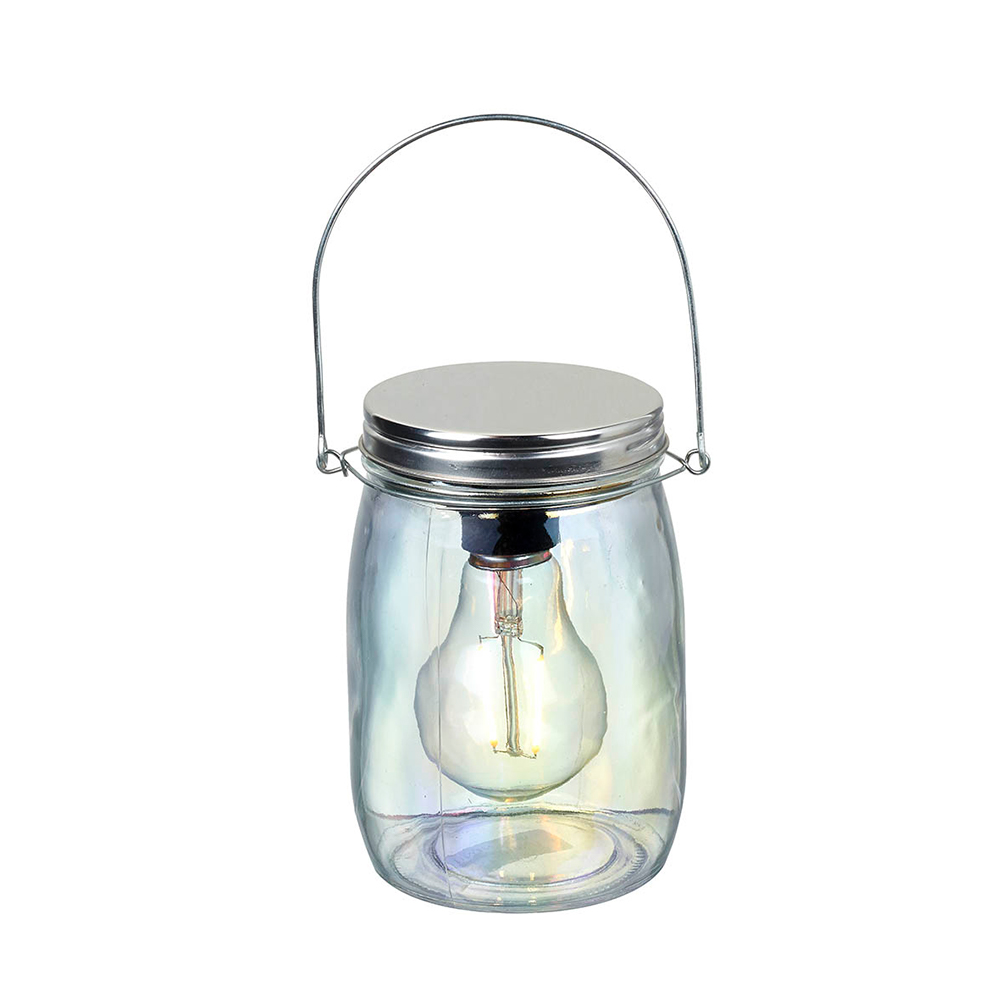 Small Clear Lustre Glass Jar With LED