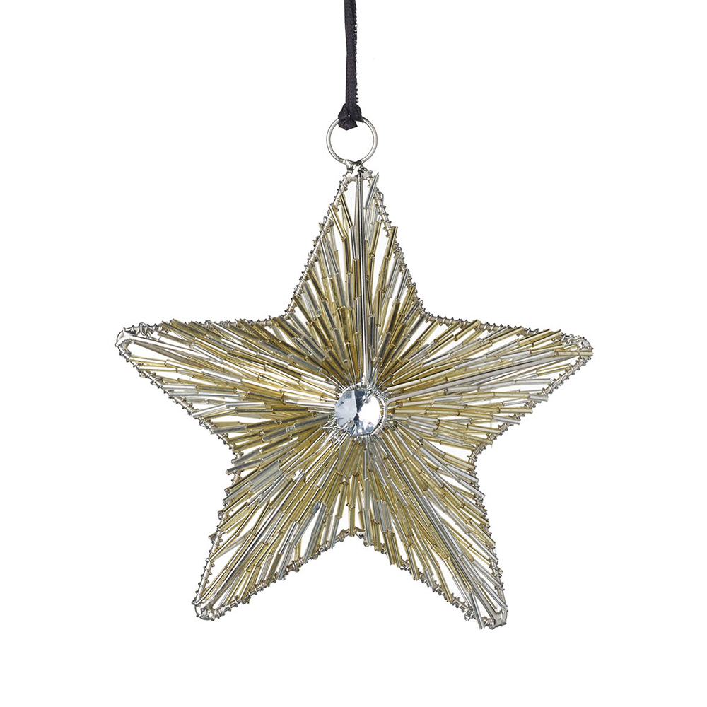 Small Gold Glass Hanging Star