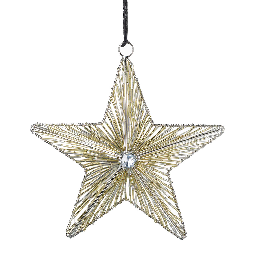 Large Gold Glass Hanging Star