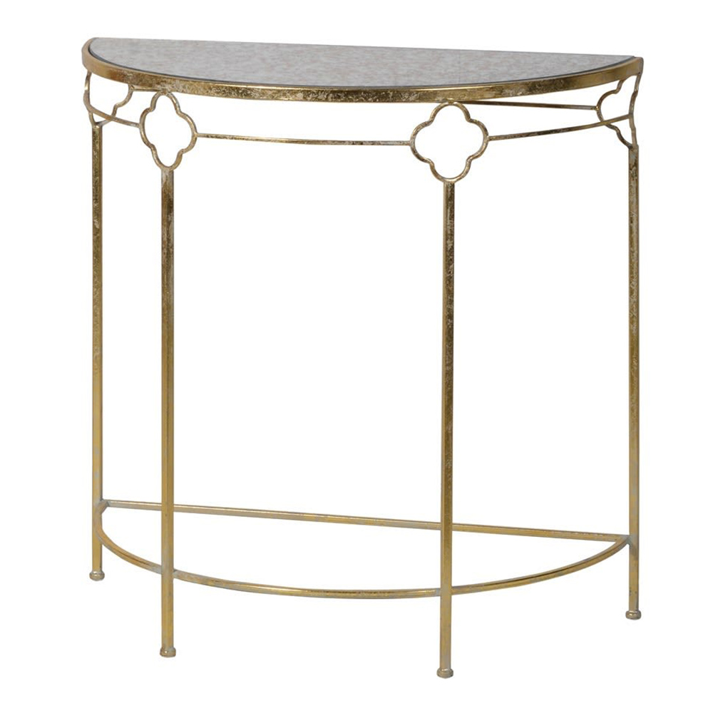 Marble Effect Demi-Lune Table