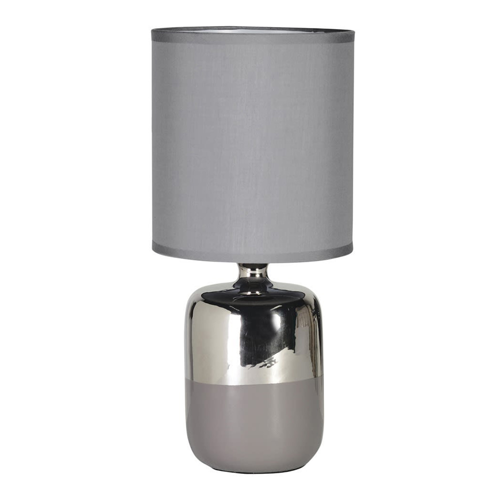 Silver Ceramic Table Lamp with Shade