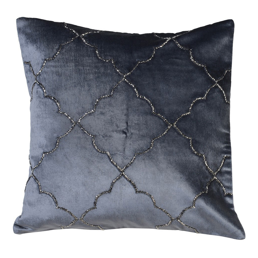 Moroccan Midnight Blue Embroided Cushion