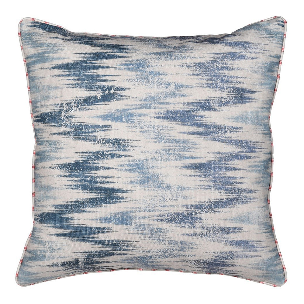 Abstract Cushion in Cream and Blue