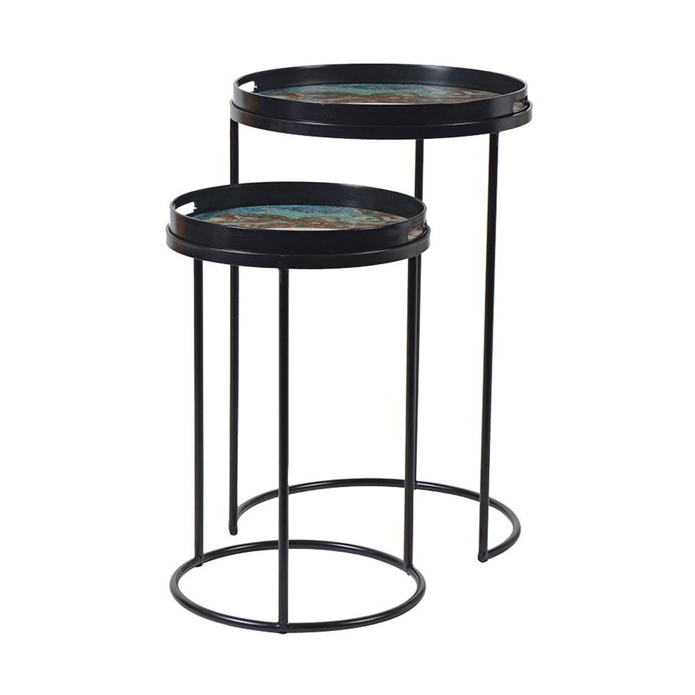 Marble Effect Side Tables Set of Two