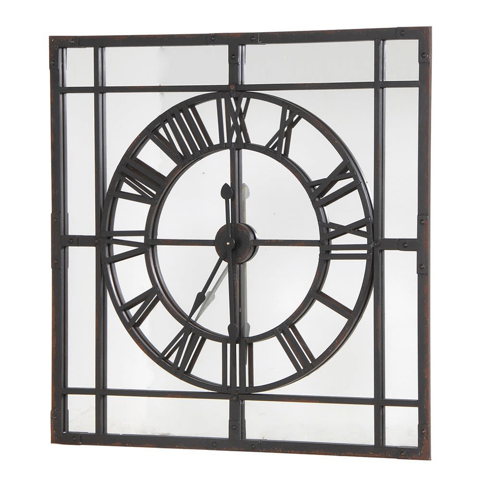 Framed Clock With Mirror