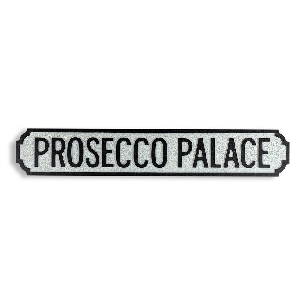Antique Wood Prosecco Palace Sign