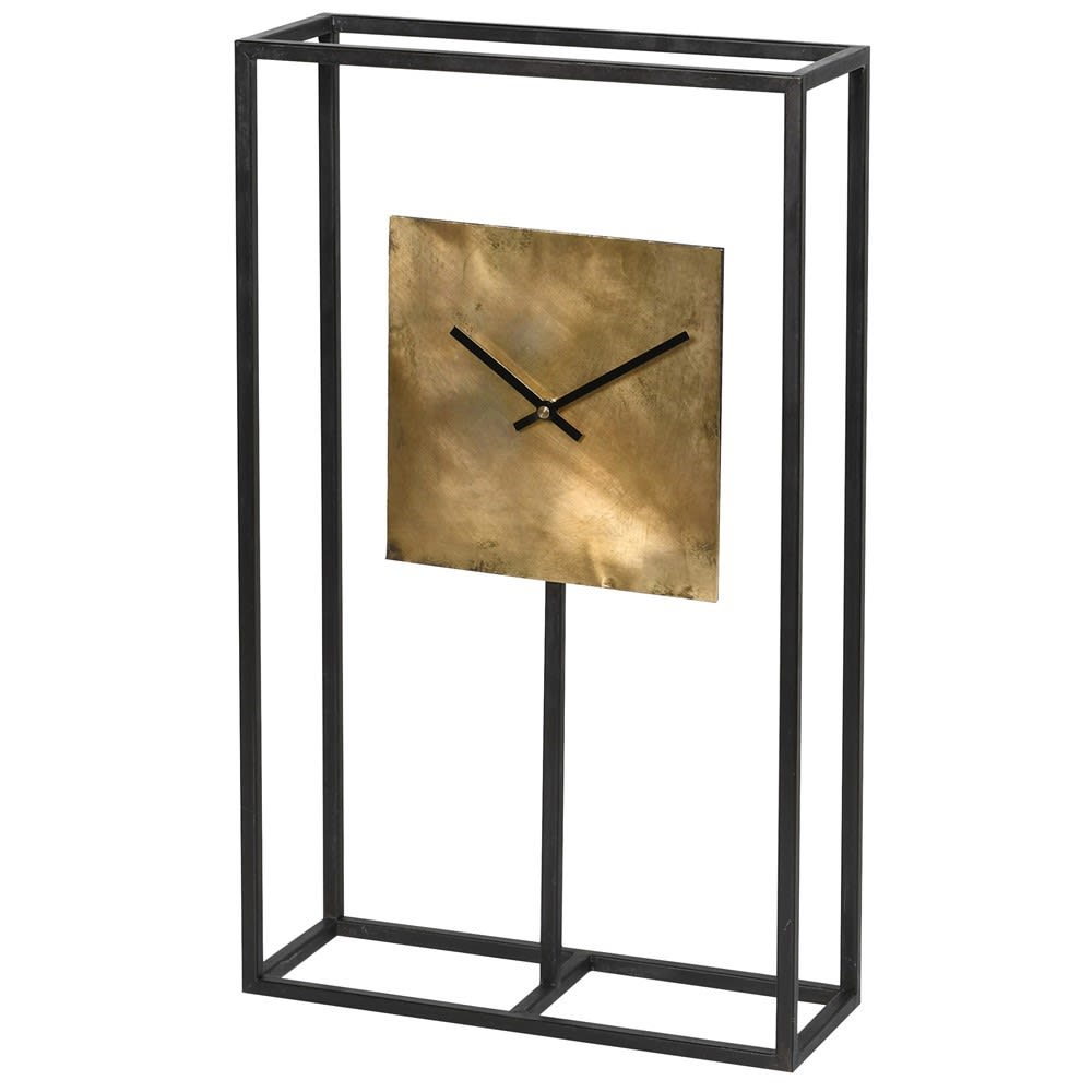 Black Frame Square Gold Clock