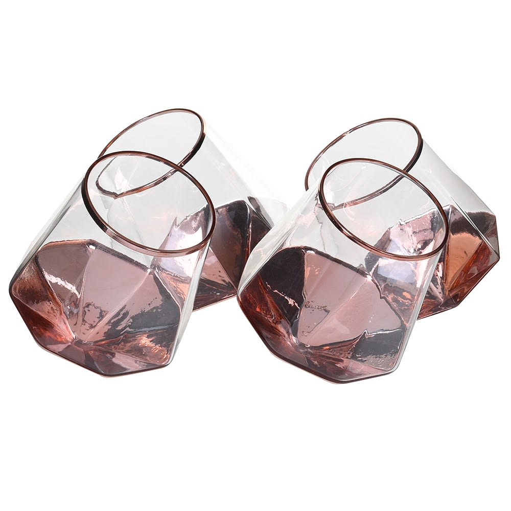Set of 4 Rose Gold Prism Tilt Tumbler