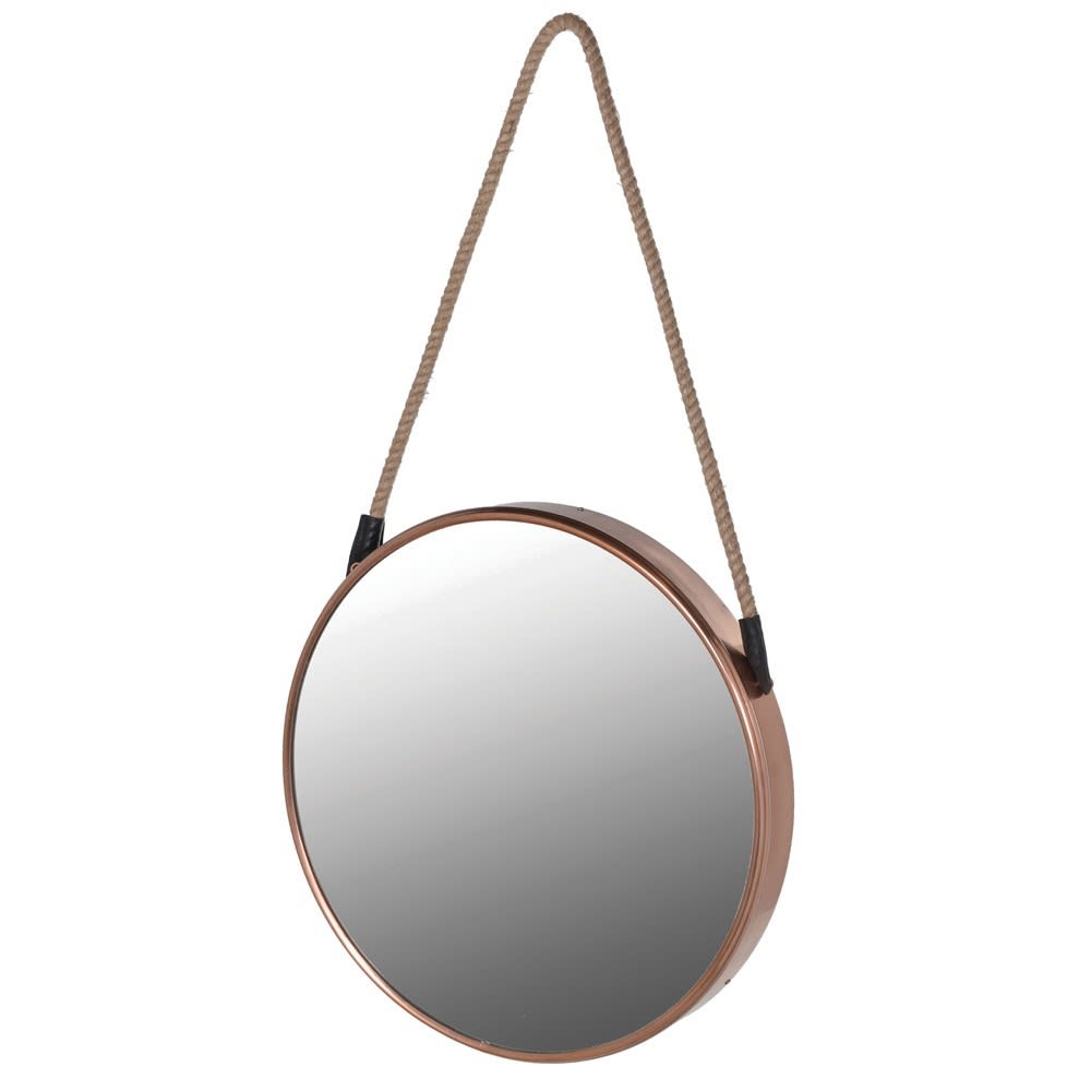 Small Round Copper Hanging Mirror
