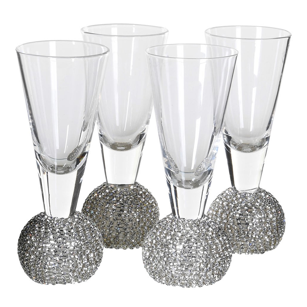 Set of 4 Silver Diamante Shot Glasses