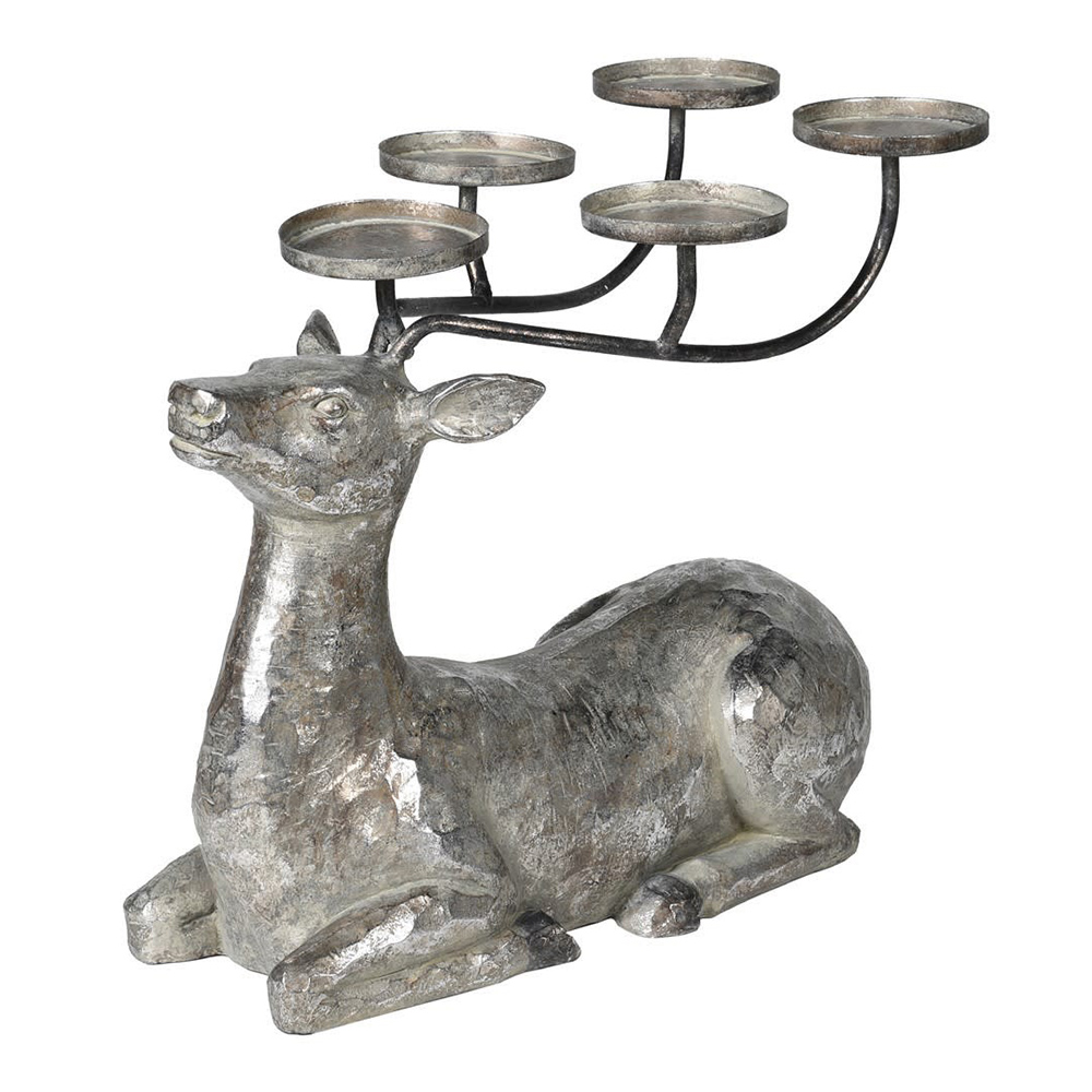 Large Silver Lying Deer Candleholder