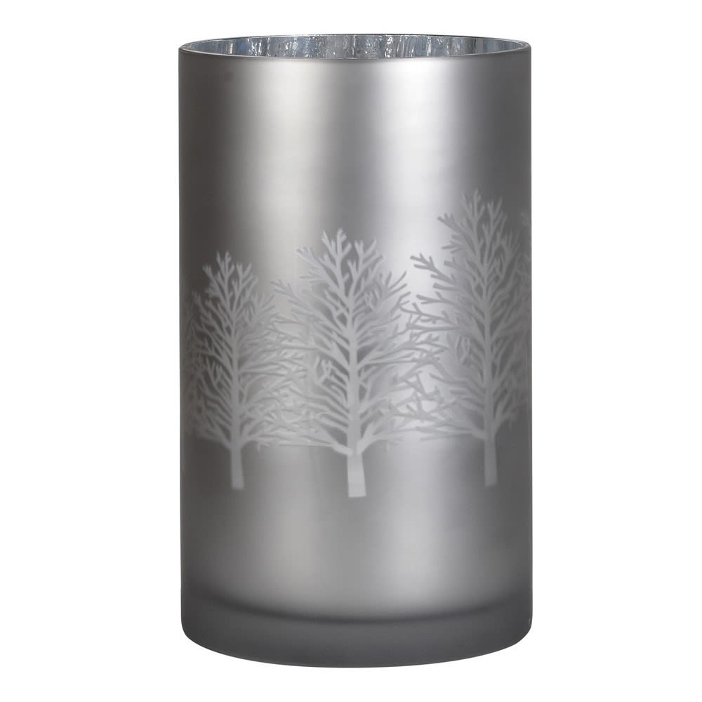 Large Glass Candle Holder with Trees