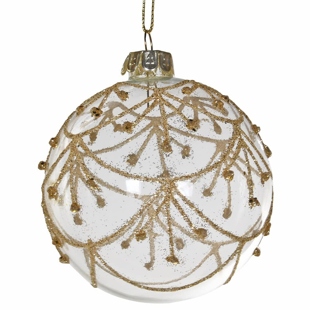 Clear Bauble with Gold Decoration