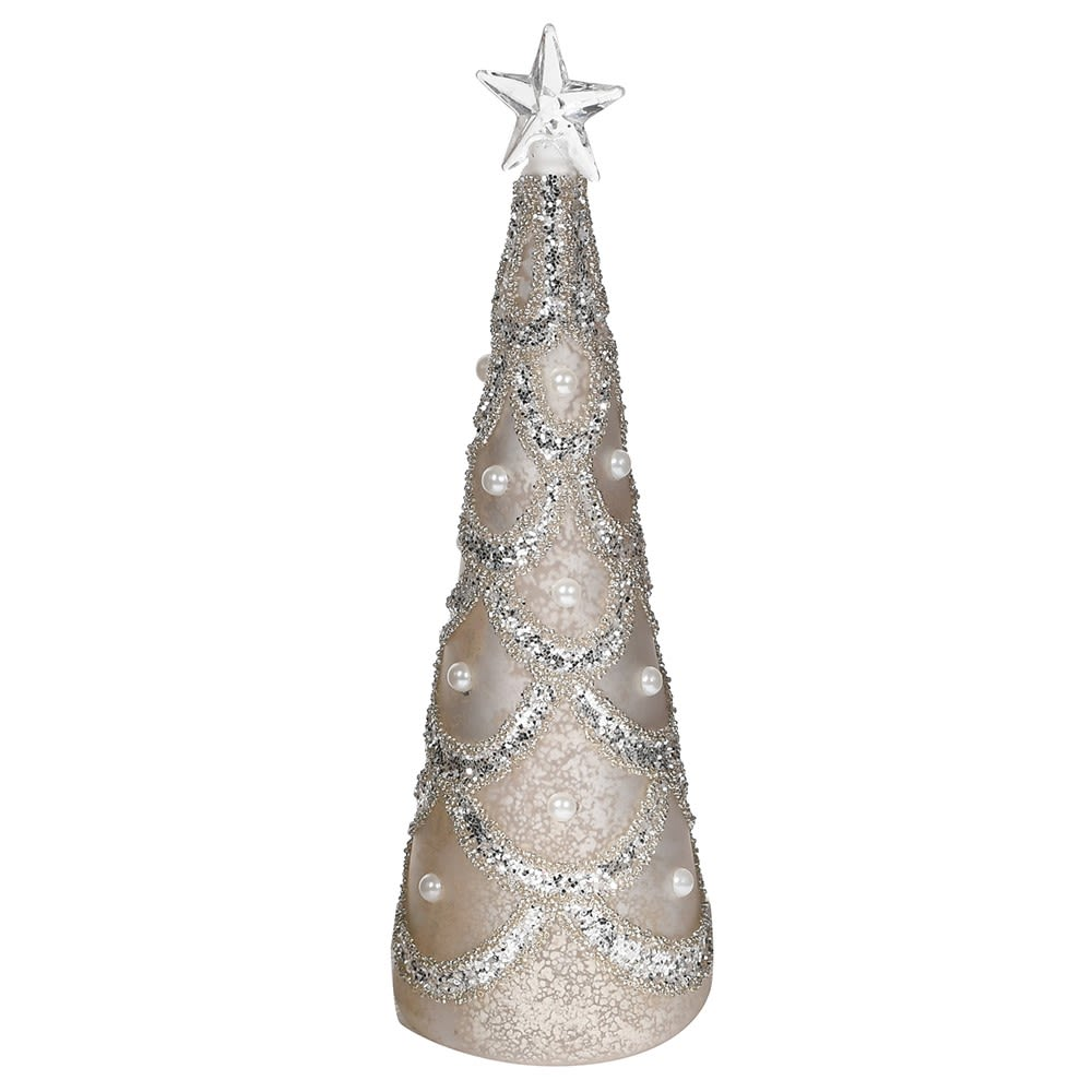 Silver Lit Tree with Glitter