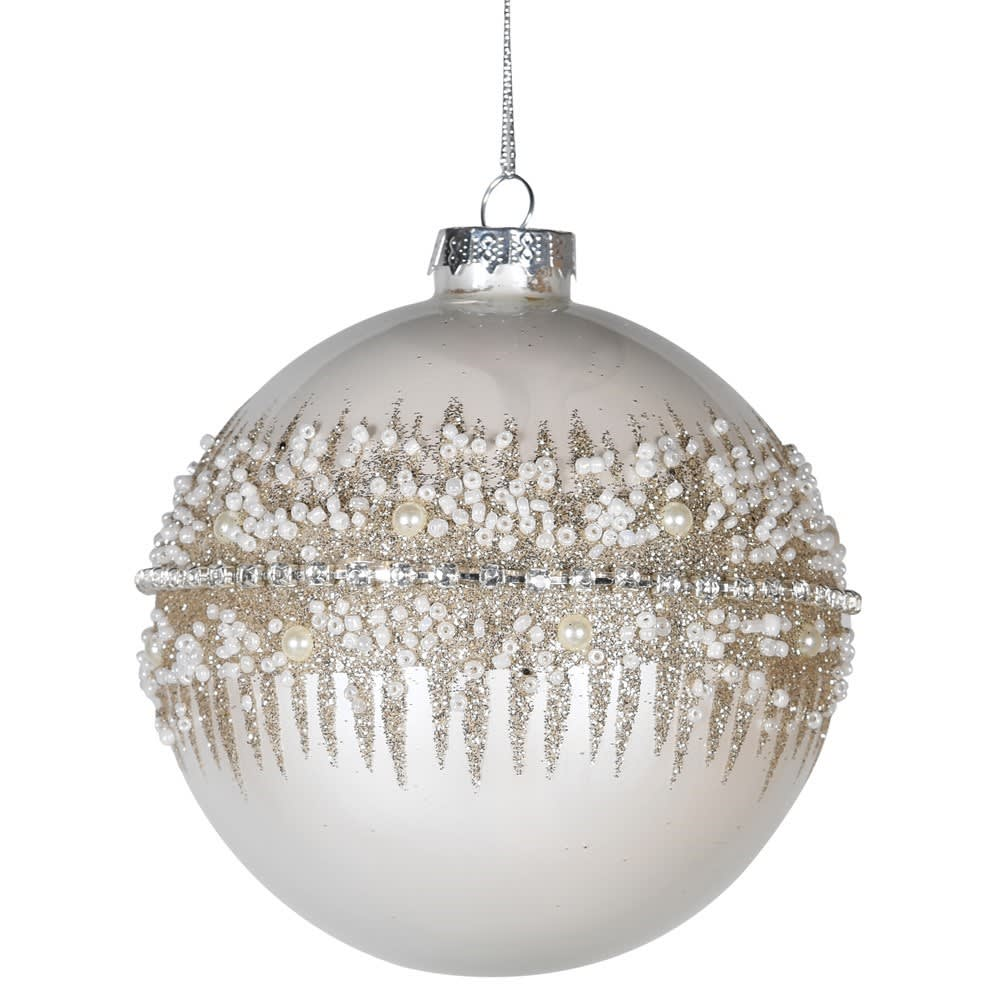 White Glitter Bauble