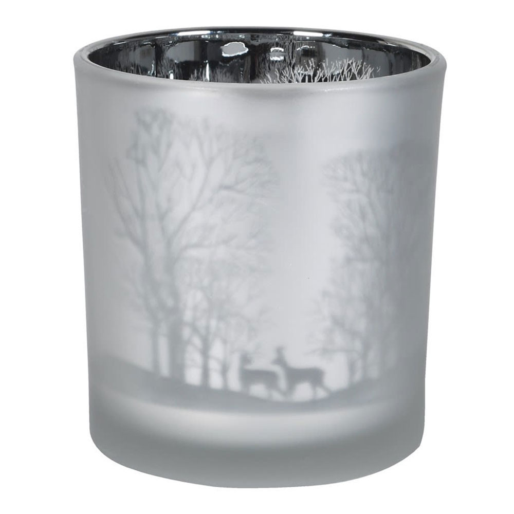 Frosted Deer & Trees Tealight Holder