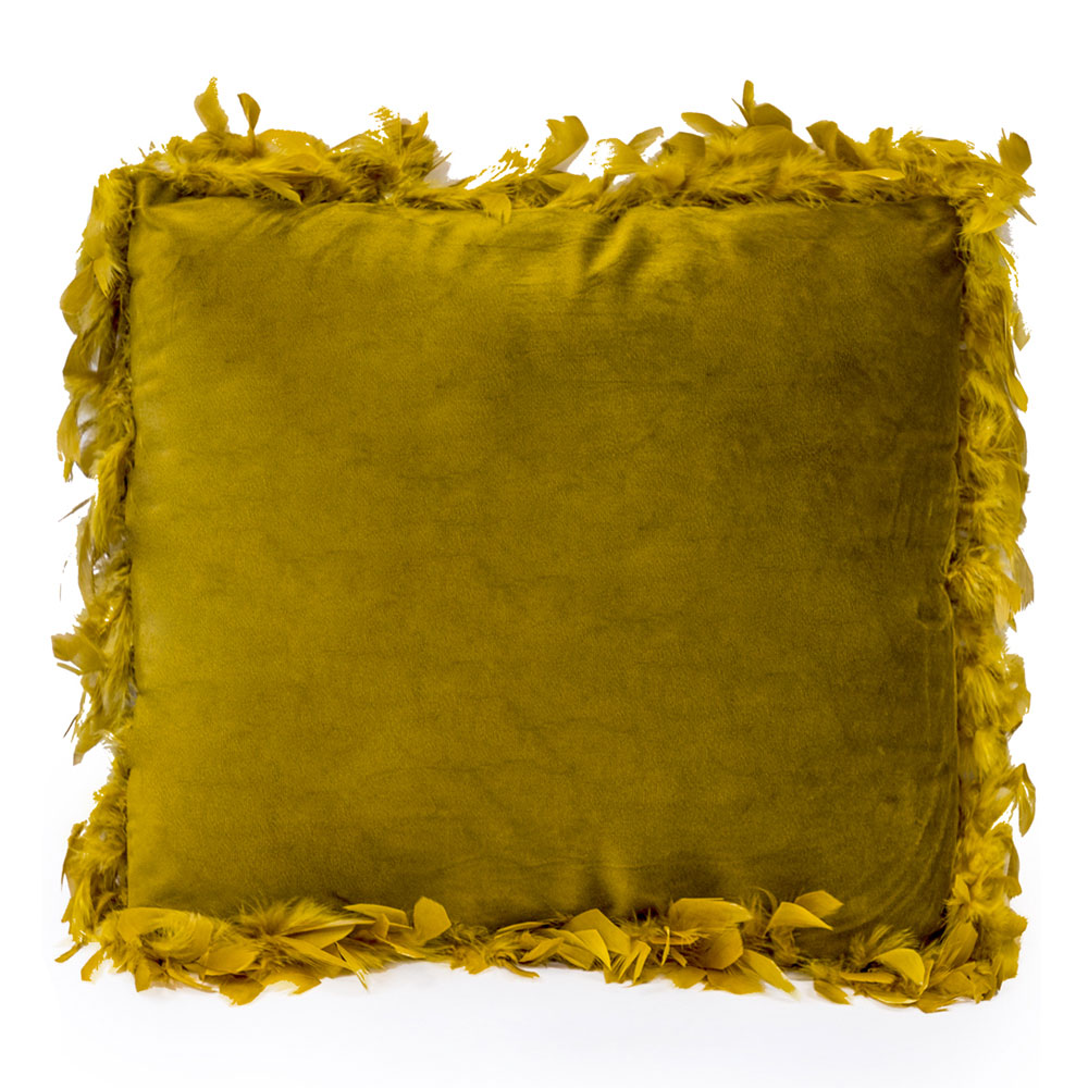 Mustard Yellow Feather Edge Pillow
