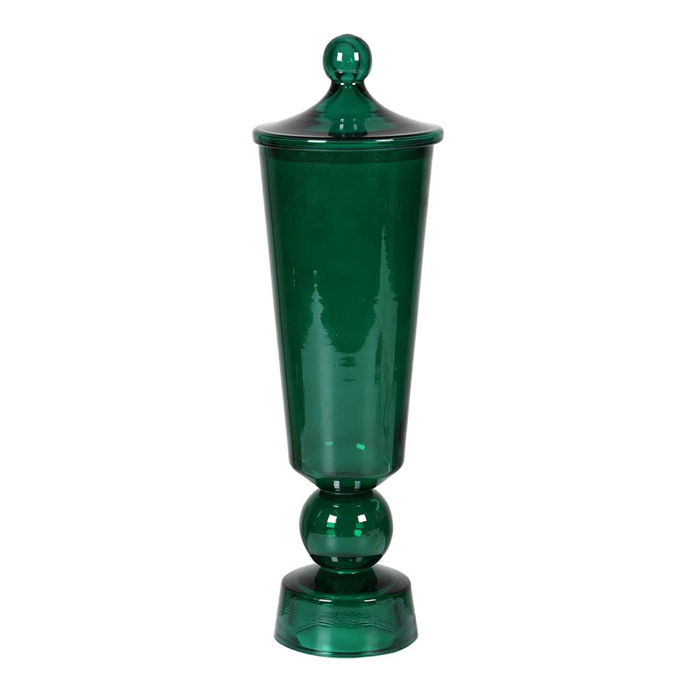 Small Emerald Glass Jar with Lid