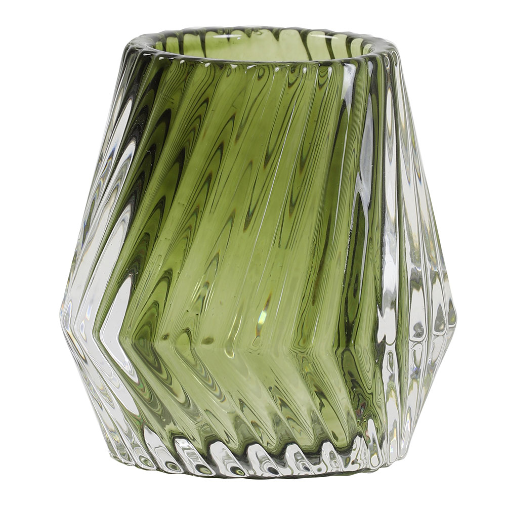 Keanu Olive Green Glass Tealight Holder