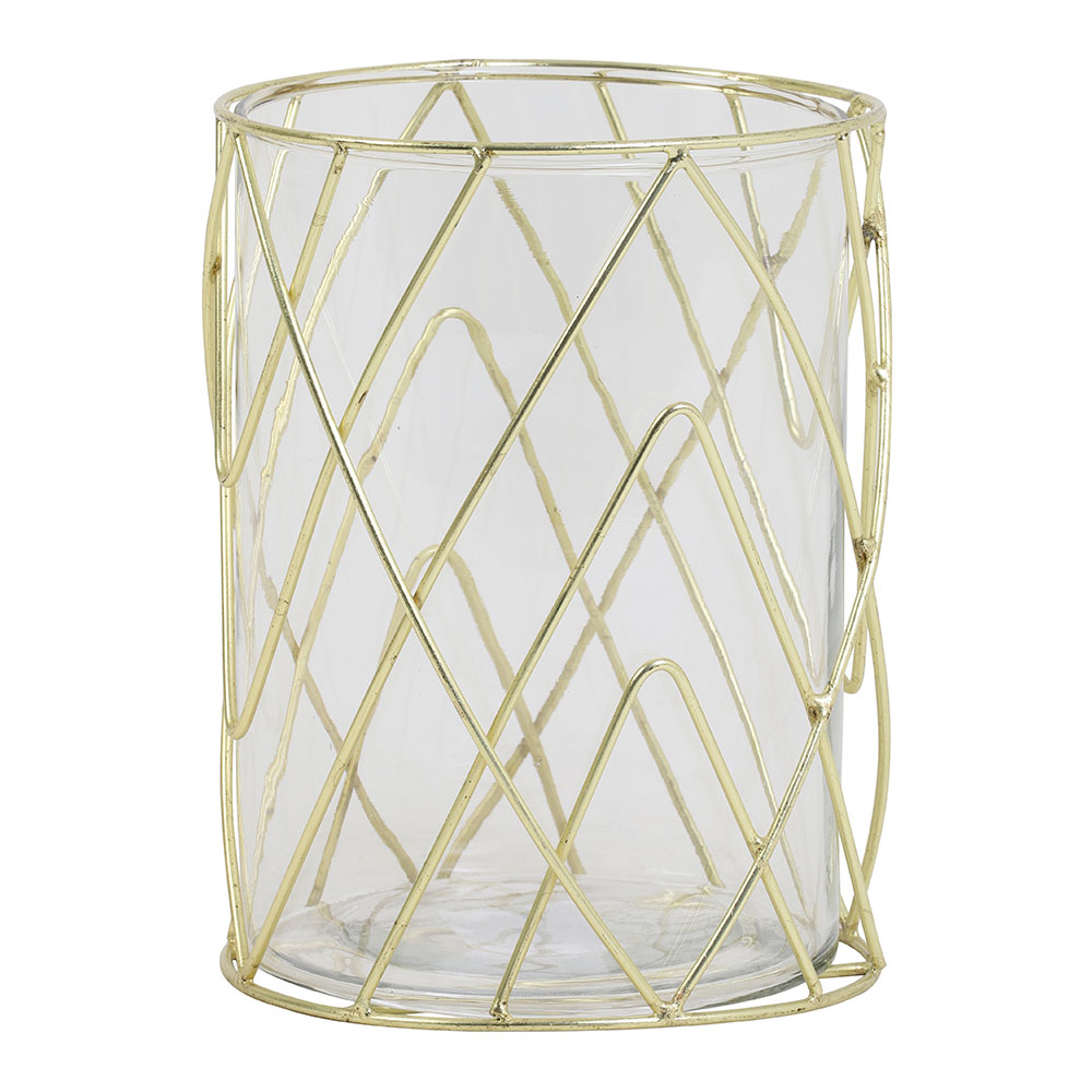 Sutton Glass Gold Tealight Holder