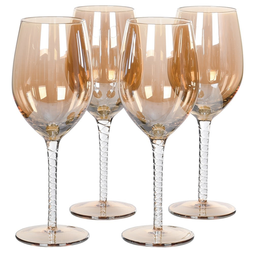 Set of 4 Twisted Amber White Wine Glasses