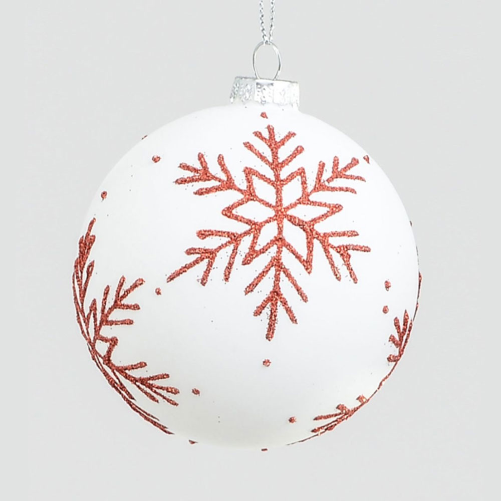 White and Red Star Bauble
