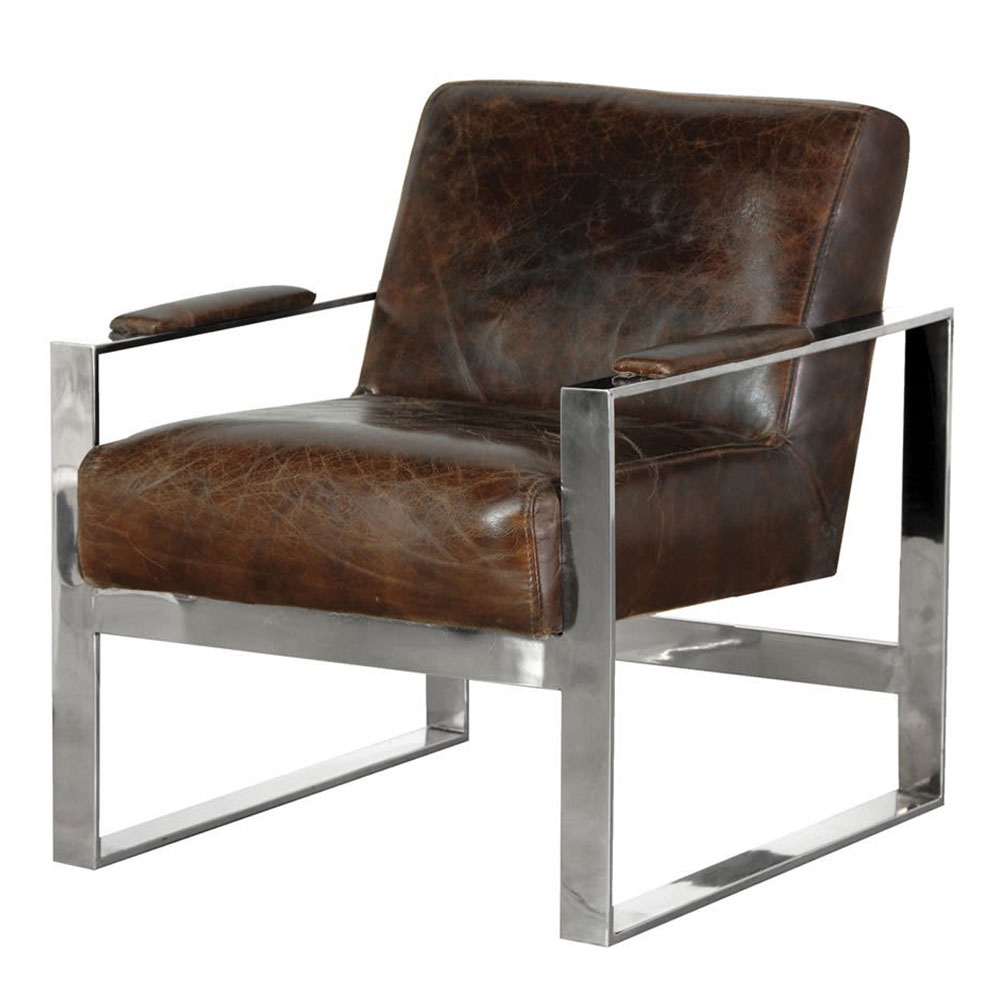Leather & Stainless Steel Armchair