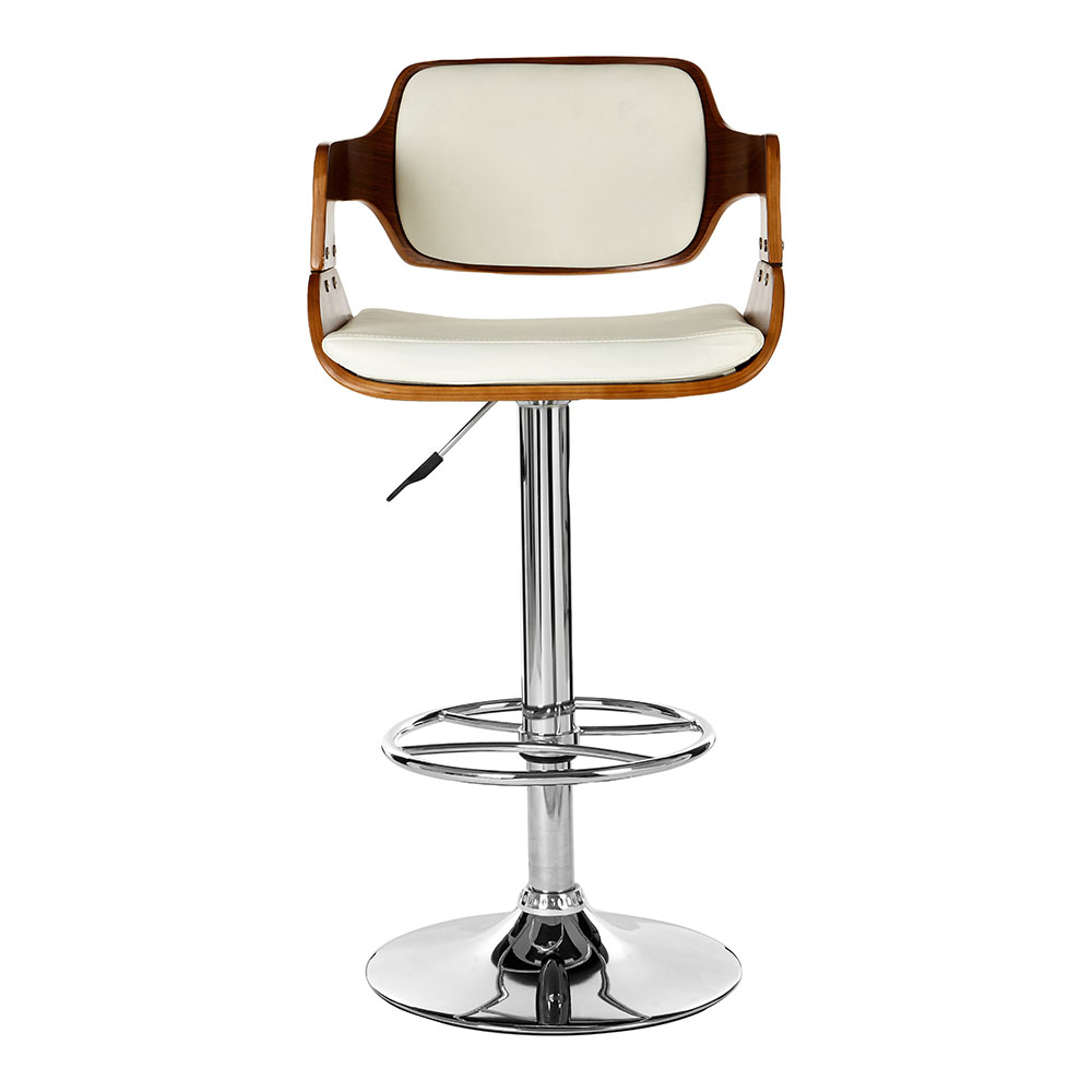 Walnut White Leather Barstool