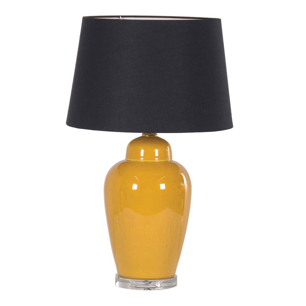 Ceramic Table Lamp with Black Lampshade