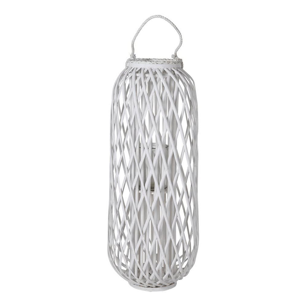 Distressed White Willow Lantern