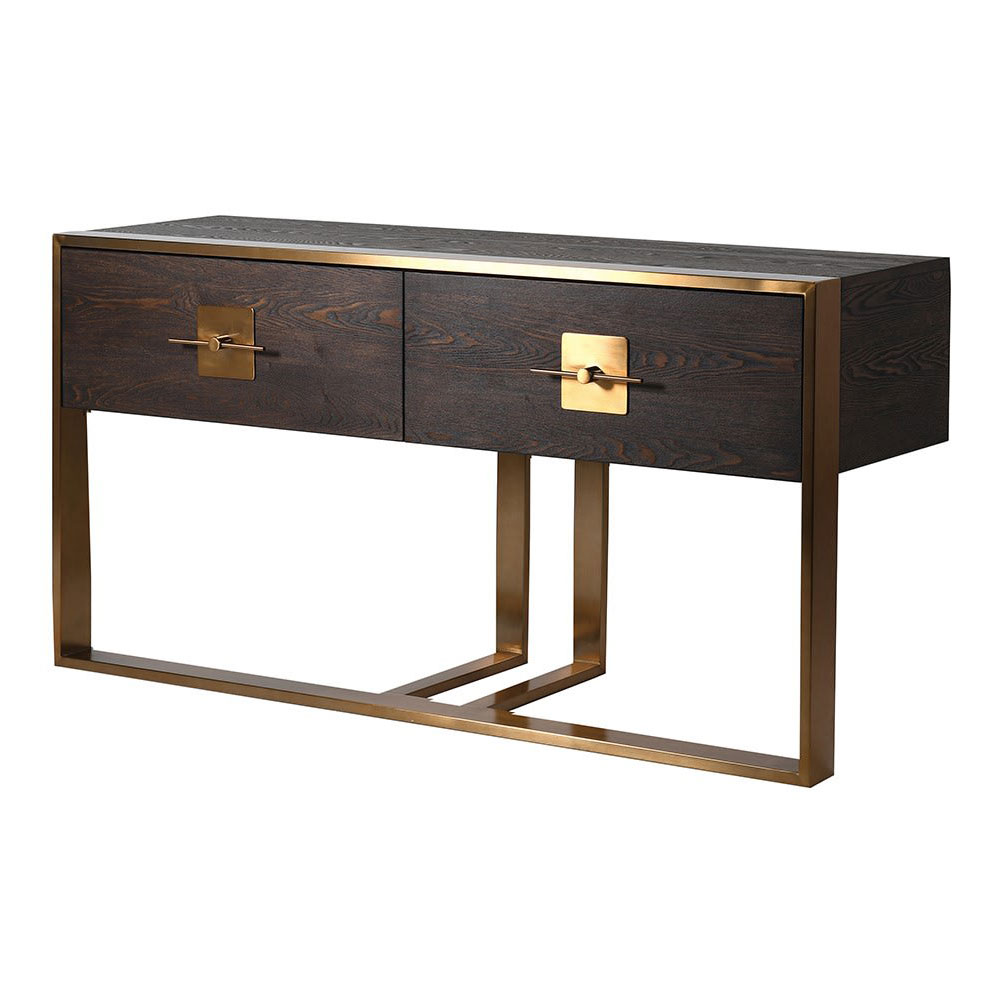 Brushed Gold 2 Drawer Console Table