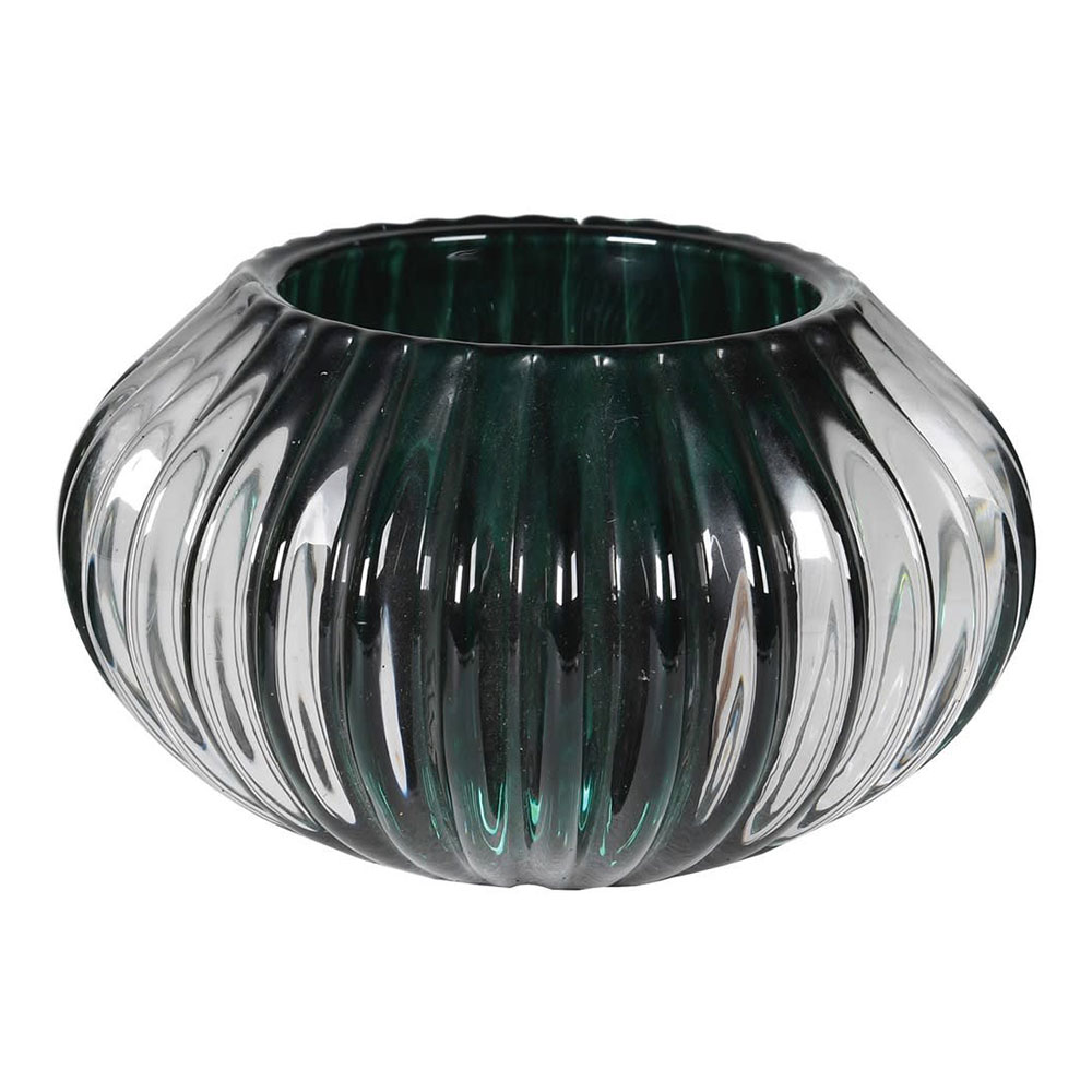 Green Glass Ribbed Candle Holder