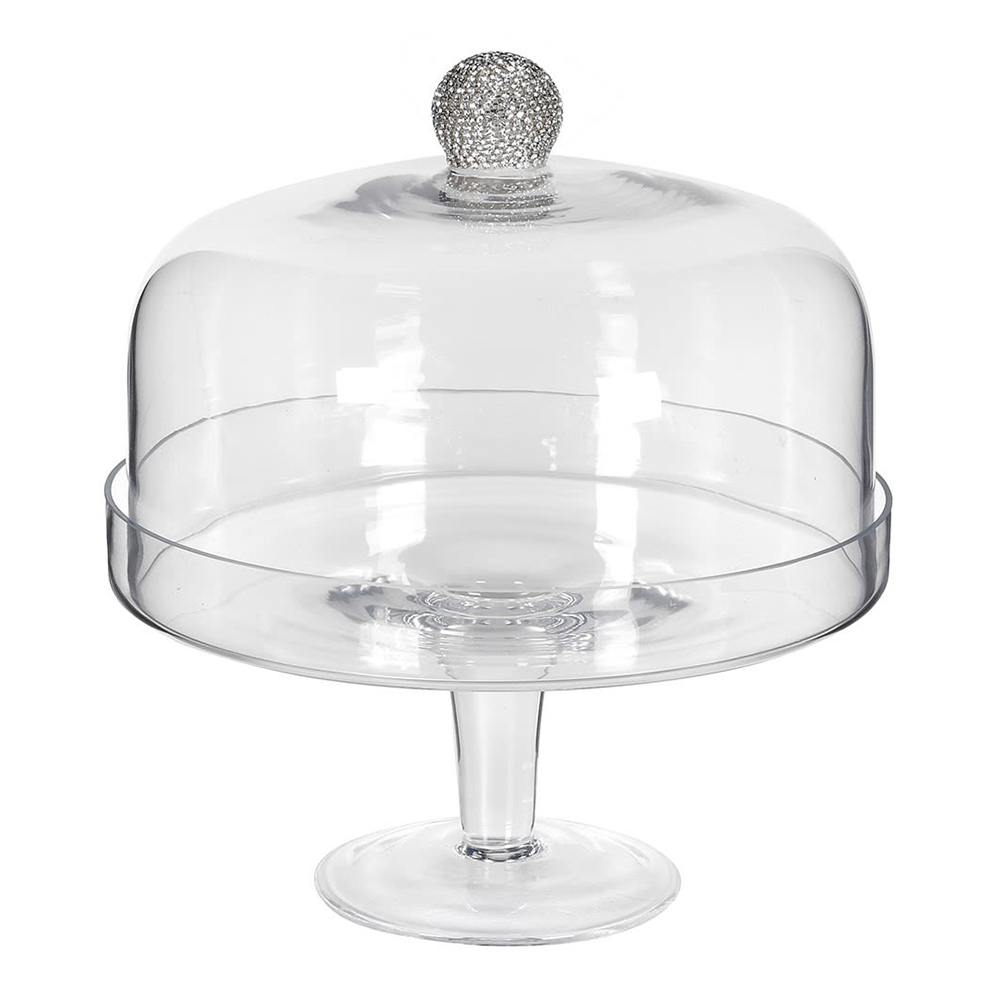 Wide Silver Diamante Cake Dome