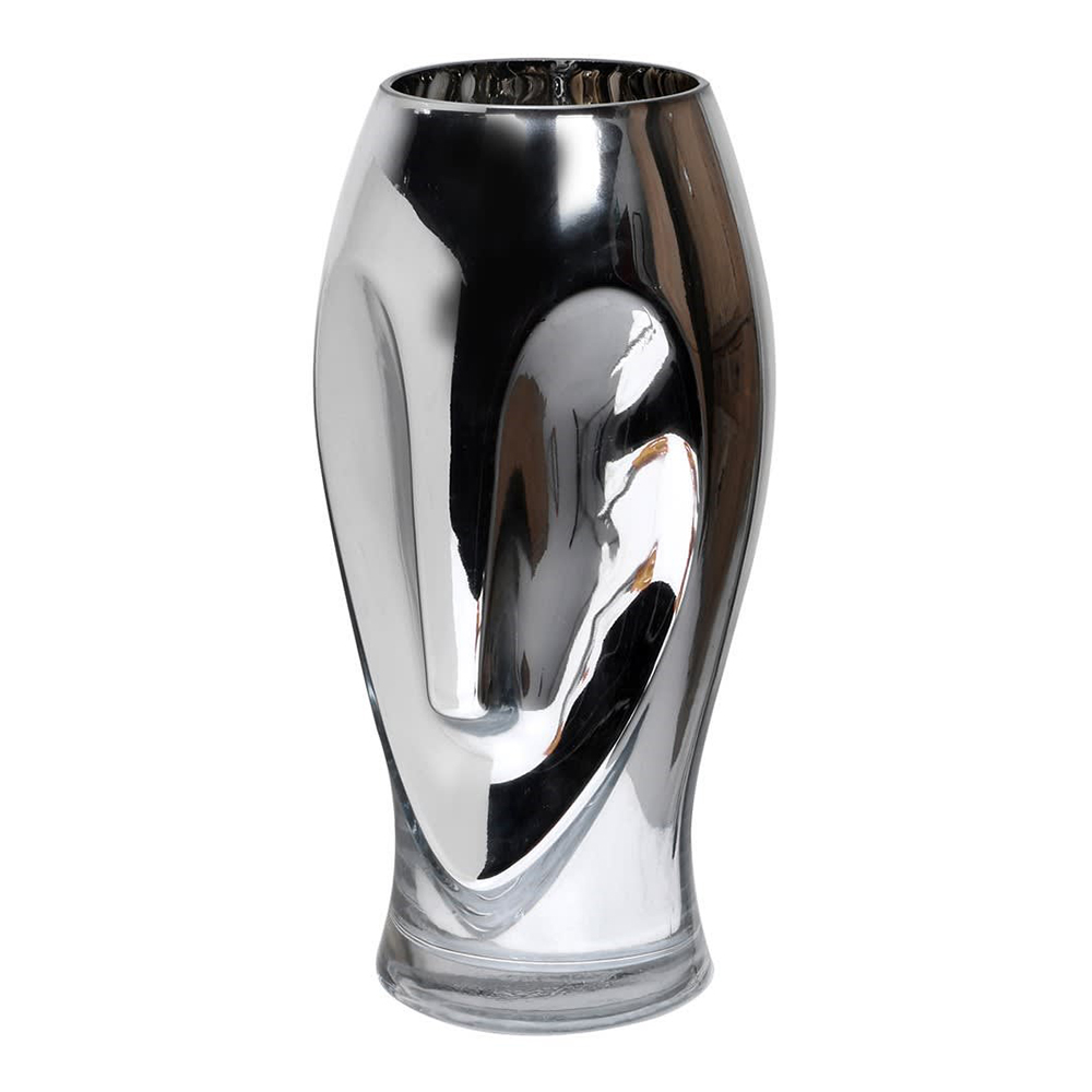 Silver Glass Face Vase