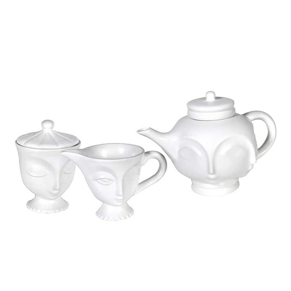 3 Piece White Multi Faces Tea Set